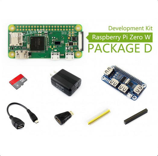 Raspberry Pi Zero W (built-in WiFi) Development Kit Type D, Micro SD Card, Power Adapter, USB HUB, and Basic Components raspberry pi zero w package e basic development kit 16gb micro sd card power adapter 2 13inch e paper hat and basic components