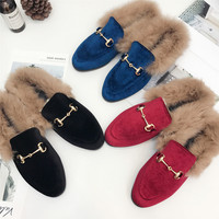 Women Fur Loafers Natural Rabbit Furry Suede Velvet Embroidery Leather Flats Slip On Warm Winter Shoes Fur Slides Mules