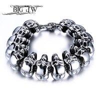 BIG J.W Rock Men Skull Stainless Steel Link Chain Bracelet Silver Color Skeleton Metal Bracelet Bangles for Men Punk Jewelry