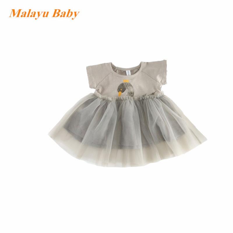 Malayu Baby Brand baby dress 2018 summer new gray swan print stitching dress raglan sleeved mini dresses 0-2 old baby