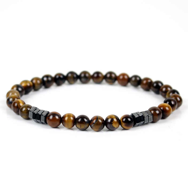 Minimalist Natural Stone Beaded Bracelet For Men Women Brown Tiger Eyes Yoga Meditation Braclet Homme Jewelry
