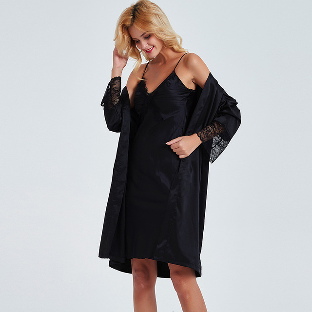 Sexy Women Robe Sets Lace Satin 2 Piece Night Dress Robe Sleepwear Suit Female Nightgown Black Nighty Nightwear Pyjama Femme in Robe Gown Sets from Underwear Sleepwears