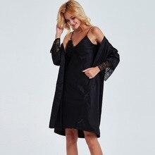 Sexy Women Robe Sets Lace Satin 2 Piece Night Dress + Sleepwear Suit Female Nightgown Black Nighty Nightwear Pyjama Femme