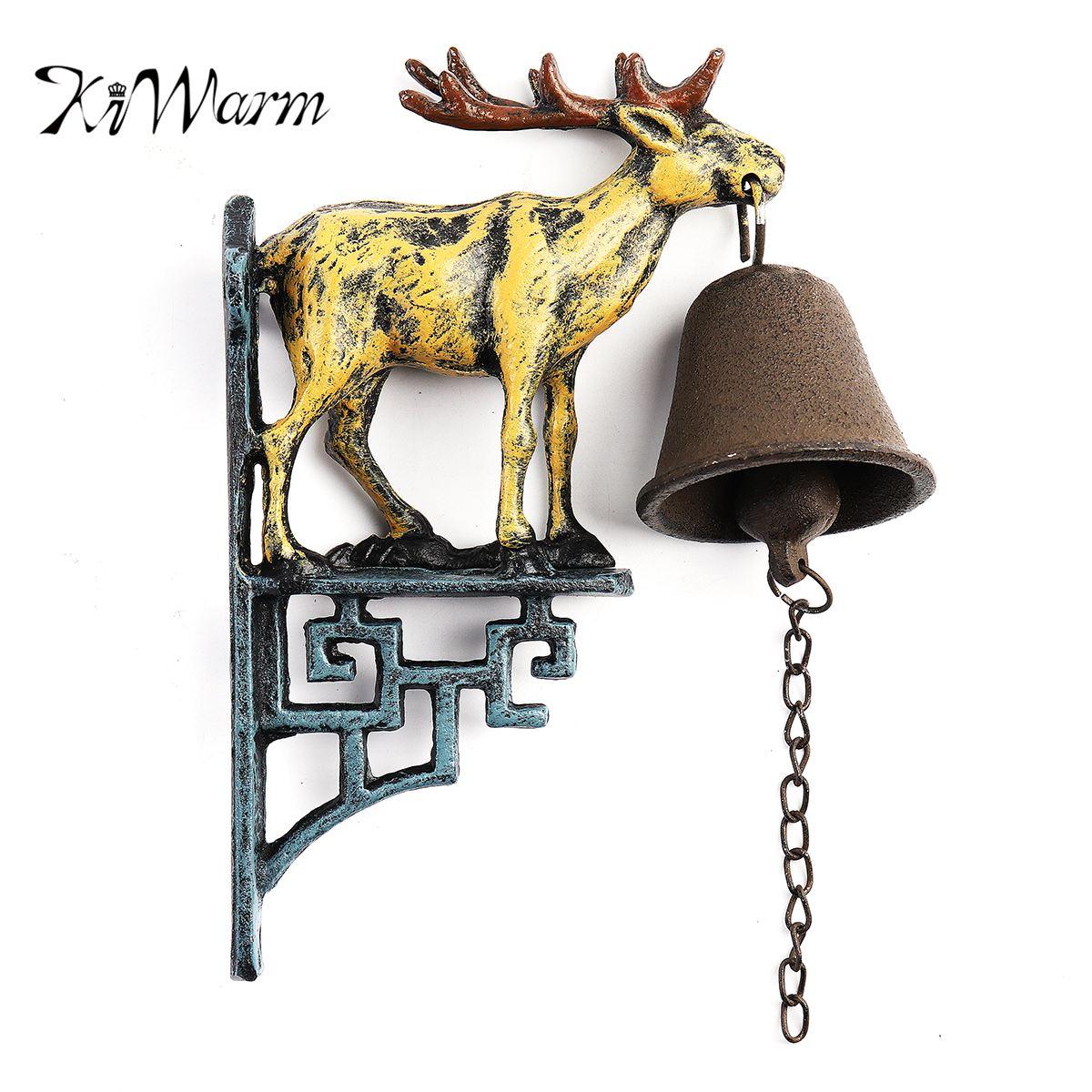 KiWarm Vintage Cast Iron Door Bell Metal Wall Mounted Stag Head Deer Antler Reindeer Design for Home Garden Hanging Ornament