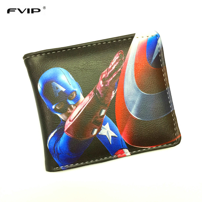FVIP Comics DC Marvel Wallets Hulk/Iron Man/Captain America/Superman/Batman/Spiderman Men Student Wallet for Gift Dollar Price dc marvel comics wallets cartoon anime iron man spiderman captain america hulk creative gift purse kids folder short wallet
