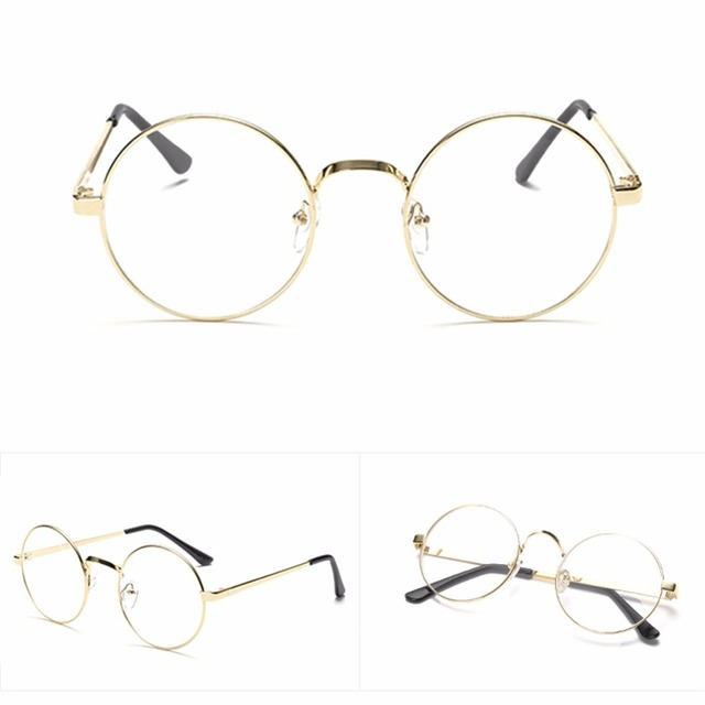 a58a4a5c0d5 Hot Chic Eyeglasses Retro Big Round Metal Frame Clear Lens Glasses Nerd Spectacles  Reading Glasses Women