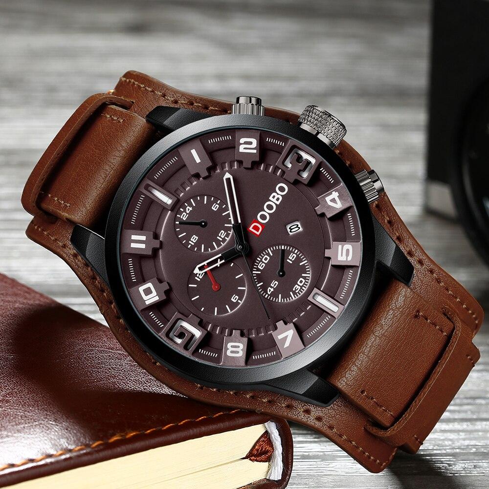c255de4320c Nova DOOBO Top Marca de Luxo Mens Relógios Data Masculinos Relógios Esporte  Militar Relógio com Pulseira
