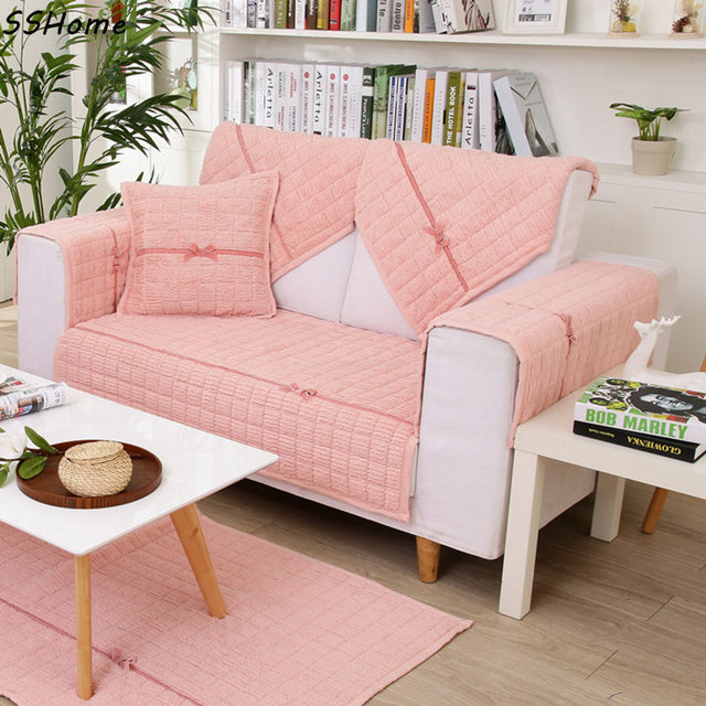 Plaid Sofa Slipcovers Solid Color Simple Modern Ultra Soft Fluffy Couch Cushion Cloth Non Slip