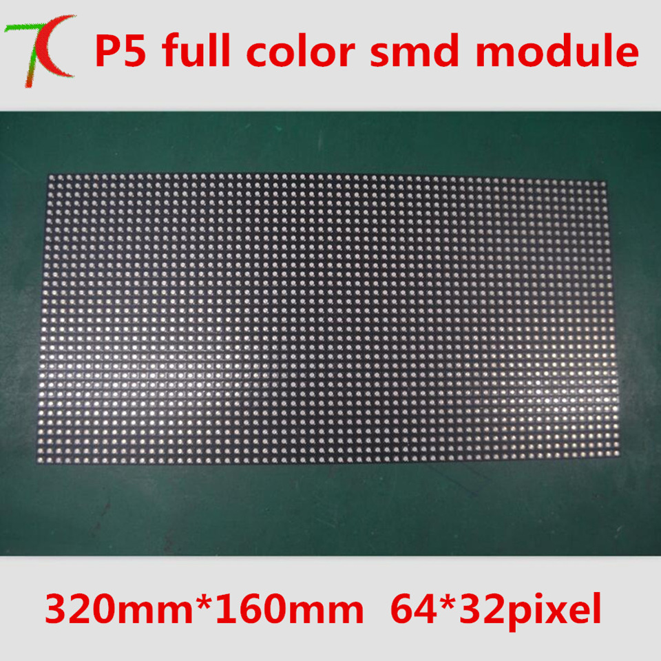 Watch P5 8scan SMD3528 Full Color Module For Rental Equipment Cabinet Display, 320mm*160mm, 64*32 Pixels, 40000dots/m2