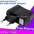 6Pcs Quality Universal Travel EU USB Charger Power Adapter AC EU Plug Adaptor With Euro Wall USB Charger For Tablet PC MP4 MP3