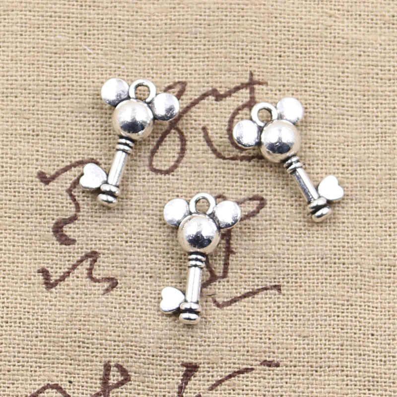 20pcs Charms แผ่นส่วนใหญ่ key 19x12 มม.โบราณจี้ fit,Vintage เงินทิเบตหา, DIY สำหรับสร้อยข้อมือสร้อยคอ
