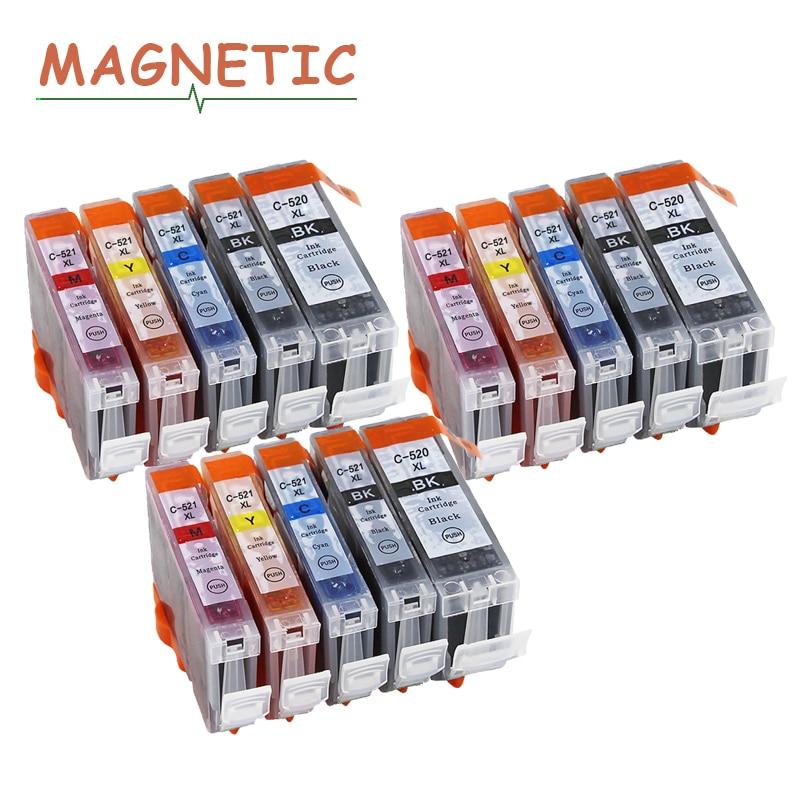 15X Colorful Ink Cartridge PGI520 CLI521 for Canon Pixma MP540 MP550 MP560 MP620 MP630 MP640 MP980 MP990 MX860 MX870 IP3600 520 цена