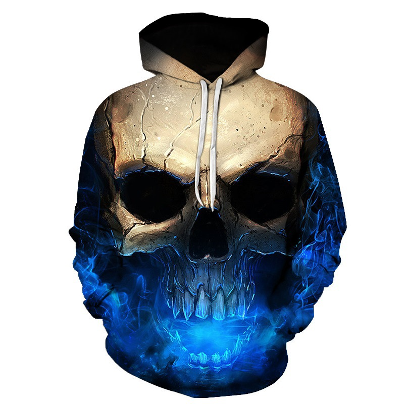 2018 3D Printed Growl Skull Women/Men Blue Sweatshirt Hoodies Front Pocket Loose Hooded Unisex Hoodies Couple Outwear Winter New