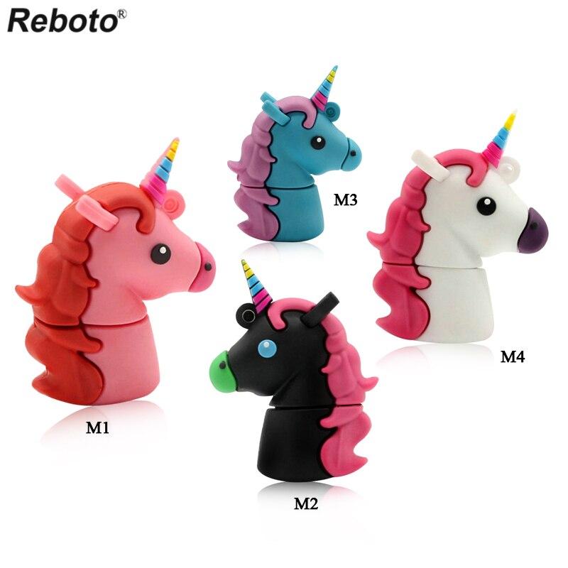 Reboto Unicorn USB Flash Drive 64GB Genuine Cartoon Memory Stick Pen Drive 4GB 8GB 16GB 32GB Pendrive U Disk Toy цена и фото
