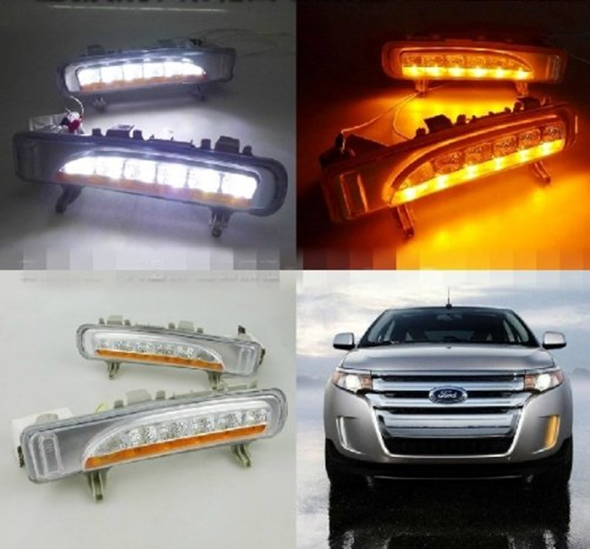 ФОТО Hottest Selling 2x White+yellow LED Daytime Running Day Fog Light DRL Turn Signal for Ford Edge 2012-2014 Led Drl Fog Light