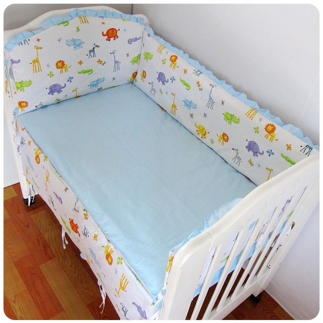 Promotion! 6PCS Crib Baby Bedding Bumper 100% Cotton Reactive Printing Nursery Bedding ,include:(bumper+sheet+pillow cover)