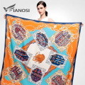 [VIANOSI]  Newest Design Bandana Silk Scarf Square Women Scarves Soft Fashion Print Flower 130*130 Shawl Brand Package VA048