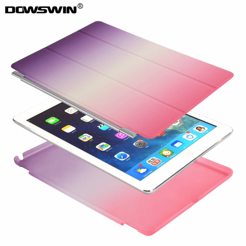 for new ipad 9.7 2017 case, for ipad pro 9.7 smart cover PU leather with pc back cover,rainbow magnetic flip stand for ipad 2017