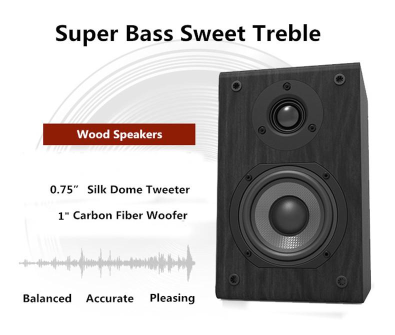 LONPOO Bookshelf Speaker Passive Pair 2-Way 75W *2 Classic Wooden Loudspeaker with 4-inch Carbon Fiber Woofer Tweeter Speaker 2