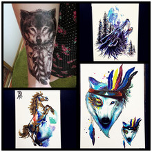 Fashion Sexy Water Color Roar Wolf Temporary Tattoo Stickers Women Men Body Art Large ARm Waterproof Tattoo 21x15CM Horse Tatoo
