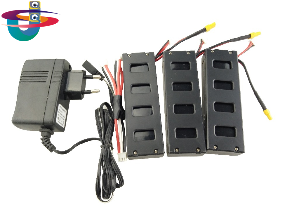 3PCS battery and European regulation charger with 1 cable 3 line for MJX B3 helicopter 7.4V 1800mah 25C aircraft parts XT30 four axis aircraft lithium battery accessories for udi u842 u842 1 u818s helicopter 3pcs battery and 6 in 1 charger