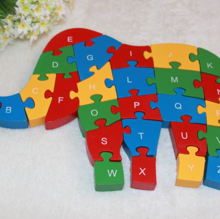 JP049 Double Sides Children Wooden Toys Alphabet Number Building Jigsaw Puzzle Elephant Funny Digital Puzlzle Game Educational