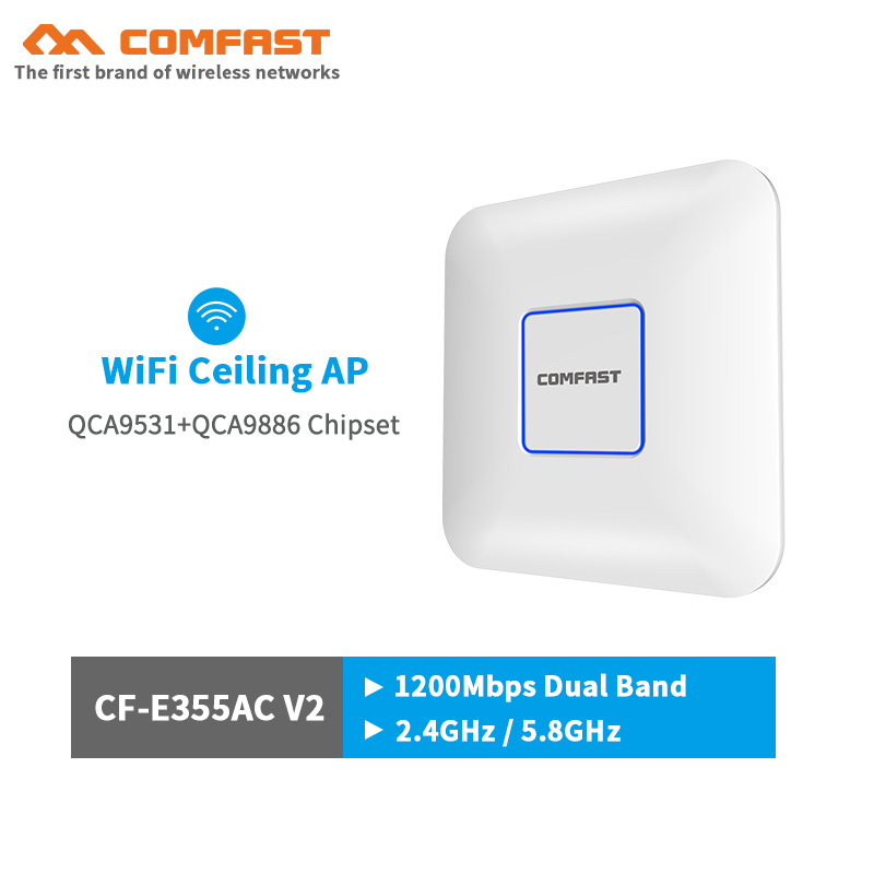 COMFAST Wireless AP CF-E355AC V2 1200Mbps Ceiling AP 802.11AC Indoor AP Open wrt dd WRT WIFI router 48V POE WiFi Access Point AP image