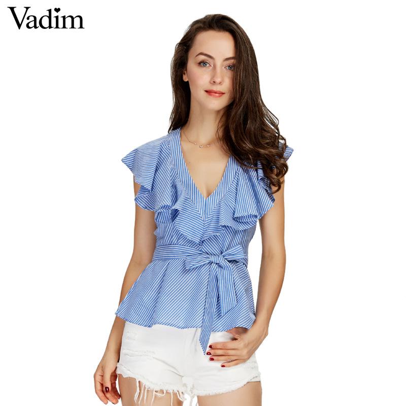 HTB1zEqHSXXXXXXGXVXXq6xXFXXX9 - Women sweet ruffles striped blue v-neck short sleeve