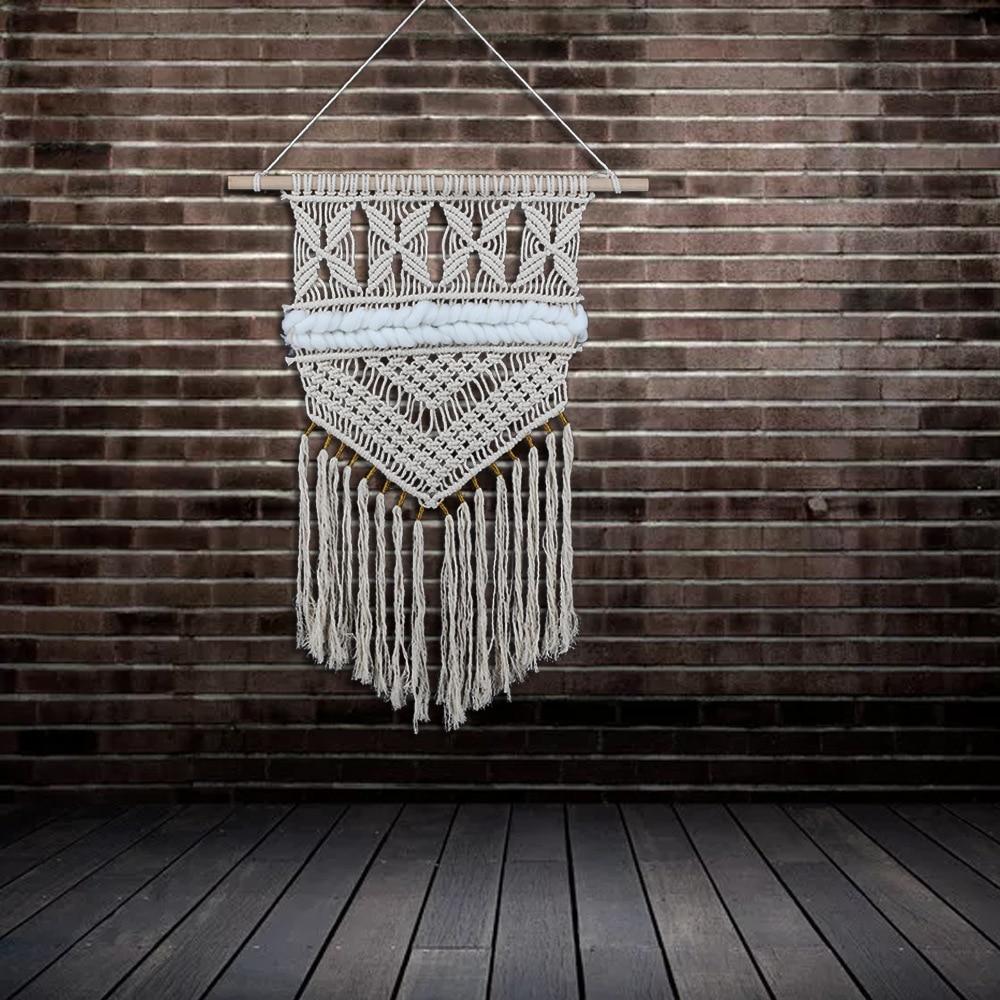 New Bohemian Annodati A Mano Macrame di Arte Della Parete di Cotone Fatta A Mano Appeso A Parete Arazzo con Tessuti di Pizzo Decorazione di Cerimonia Nuziale