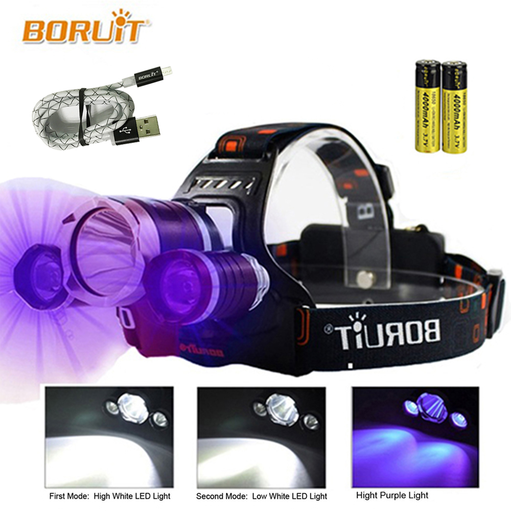 BORUIT UV 5000Lm T6 LED Headlight 3 Modes High Power Headlamp Purple Light For Fishing Hunting 18650 Battery Head Torch RJ-3000 boruit xml l2 led headlight lantern 4 modes usb power bank headlamp for fishing hunting use 18650 battery torch lanterna rj 5001