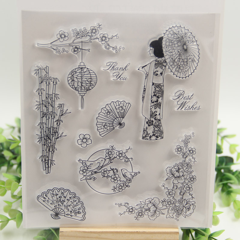 1 sheet DIY Japan Cherry blossoms and Birds Design Transparent Clear Rubber Stamp Seal Paper Craft Scrapbooking Decoration 1 sheet diy label symbol candle transparent clear rubber stamp seal paper craft scrapbooking decoration