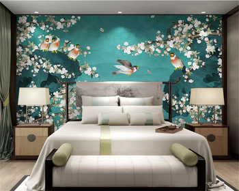 цена на beibehang Custom classic wall paper new Chinese style hand-painted magnolia bird ink landscape bamboo TV background 3d wallpaper