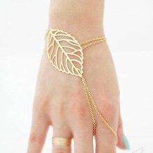Boho Double Layer Hollow Leaf Bracelet Gold Color Metal Minimalism Bracelets For Women Party Jewelry Bijoux Femme Dropshipping delicate solid color hollow out leaf bracelet for women
