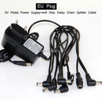 Free Shipping 5 Plug Angled Head Multi Power Cable 9V Guitar Effect Pedal Power Supply Adapter