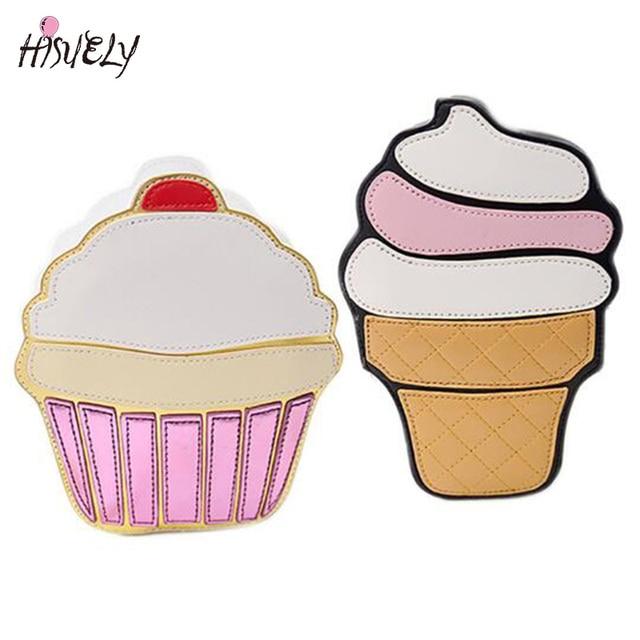 Для женщин сумка Мороженое торт Сумки через плечо мультфильм милый сумки на плечо Малый emjoy Orange Арбуз полосой ракушками гамбургер Единорог
