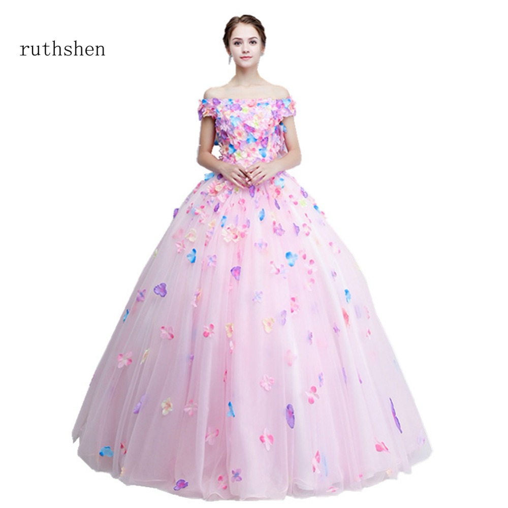 ruthshen Sexy Boat Neck Prom Dresses With Pink Flowers Long Party ...