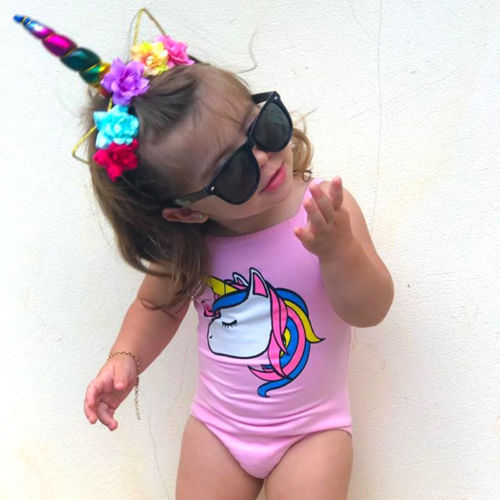 8dbee1cea7ef8 2018 Brand New Toddler Kids Baby Girl Unicorn Swimwear One-piece Swimsuit  Bathing Suit Beach Cartoon Baby Clothes 0-3T