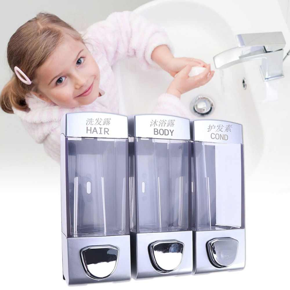 Wall-mounted 3 Outlets Pressing Durable Liquid Soap Dispenser Lotion Box Hair Conditioner Storage for Bathroom Toilet Kitchen
