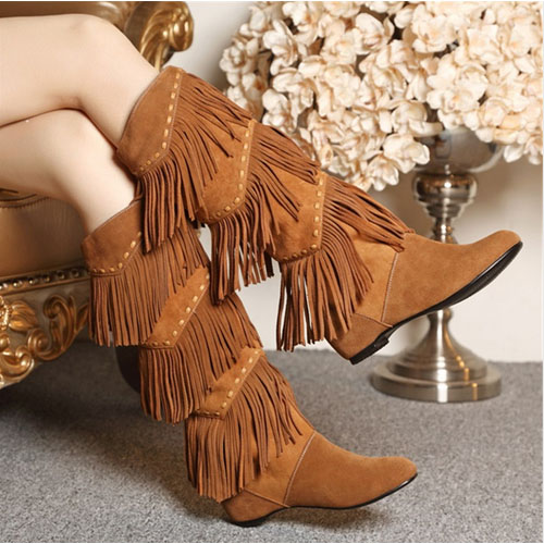 2017 New Hot Women Winter Warm Fringed Boots Fashion Tassels Knee High Boots Height Increasing Botines Mujer Long Wedge Botas