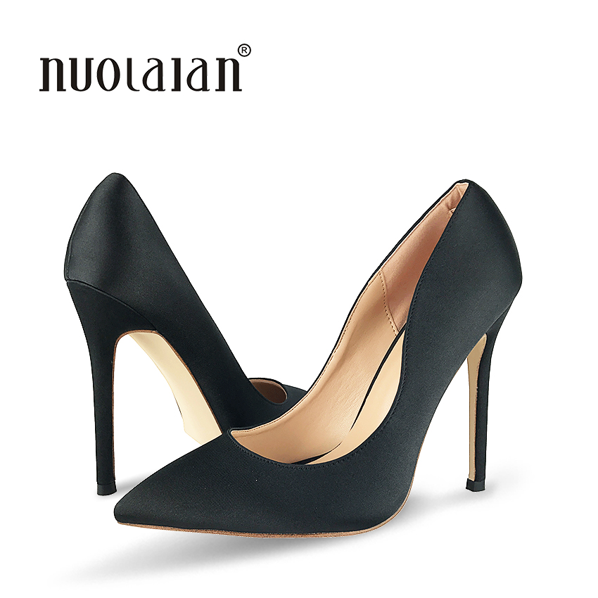 2018 Fashion Pointed Toe Classical Design Women Pumps <font><b>12CM</b></font> <font><b>Sexy</b></font> <font><b>High</b></font> <font><b>Heels</b></font> Female Black Formal Dress Wedding Shoes Woman image