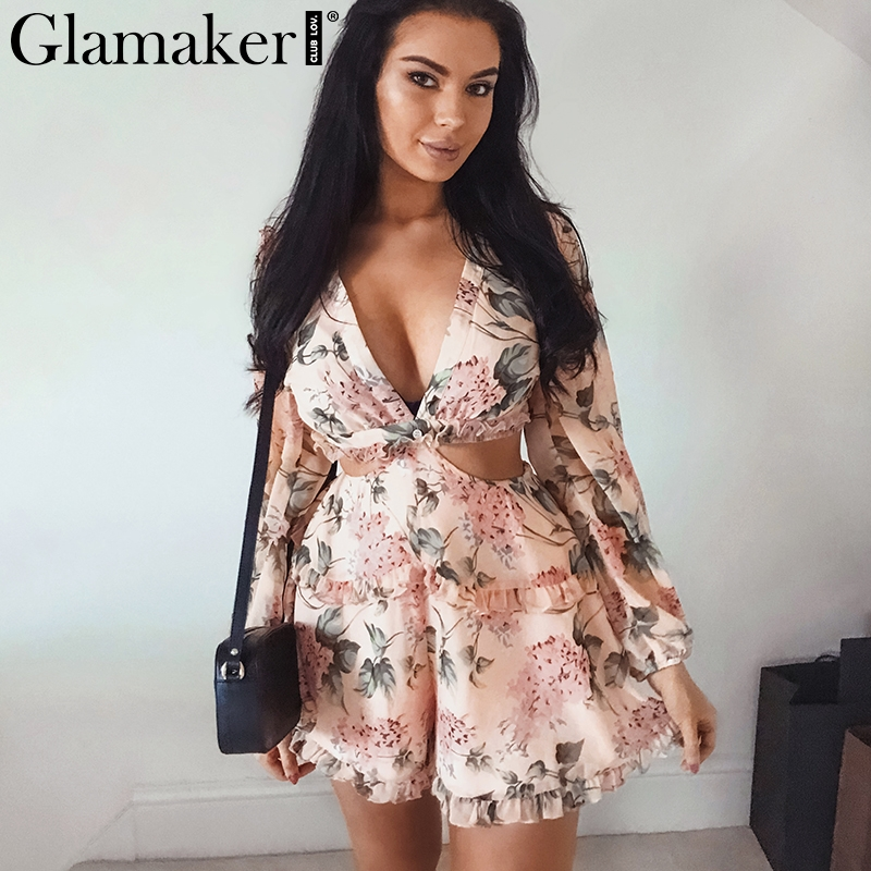 Glamaker Backless chiffon v neck short   jumpsuit   Women lace up ruffles beach playsuit Female elegant summer party romper overalls