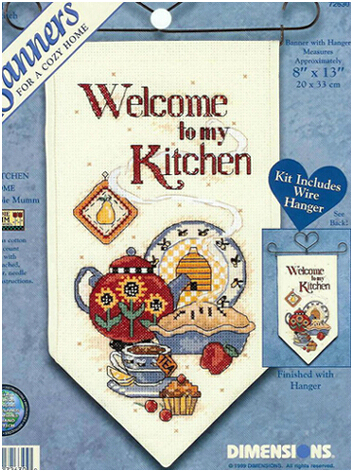 Welcome To My Kitchen Banner Counted Cross Sch Kit 14ct Set For Embroidery Breakfast
