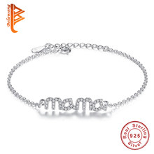 BELAWANG Simple 925 Sterling Silver Bracelet for Women Austrian Crystal Mama Charm Bracelet Party Jewelry Mother's Day Gift(China)