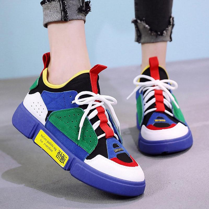 LAKESHI New Women Shoes Autumn Fashion Harajuku Sneakers Women 2018 Fashion Women Vulcanize Shoes Lace Up Tennis Shoes 3 Color