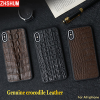Genuine Crocodile Back Leather Cover Case For Iphone 6 7 8 6S Plus XS MAX XR Luxury Handmade Croco Case For Iphone X 6S Plus 7 8