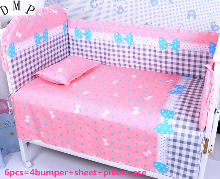 Promotion! 6PCS crib bedding set kit bed around pillow cot nursery bedding kit berco baby bed (bumpers+sheet+pillow cover)