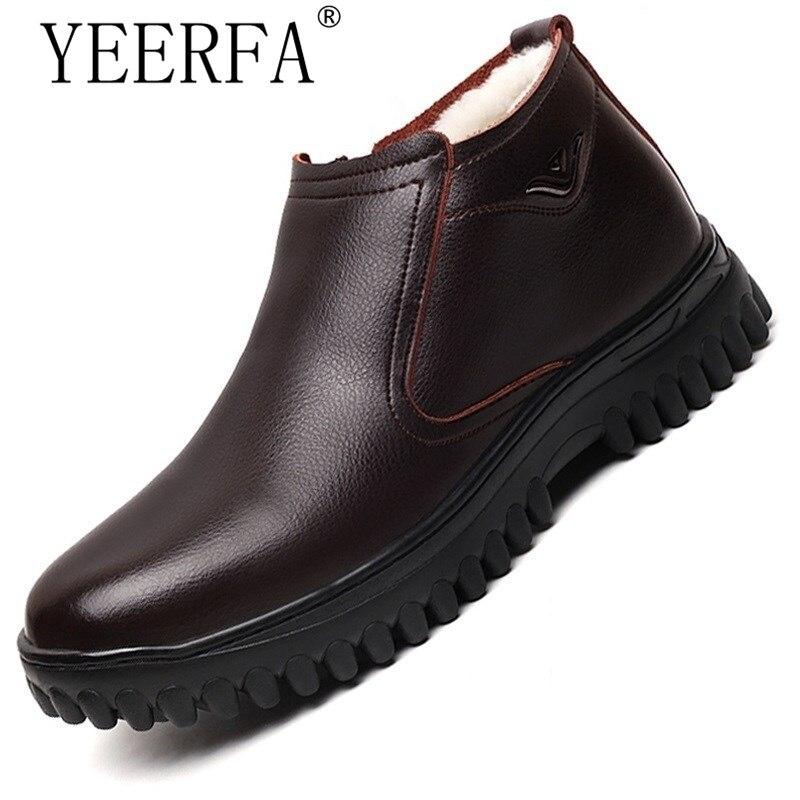 YEERFA/новые качественные мужские зимние ботинки, зимние ботинки для мужчин, натуральная кожа, шерсть внутри, Теплая мужская обувь с мехом и пл...