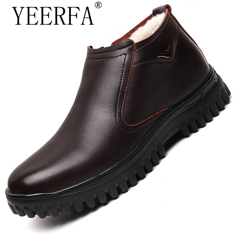 YEERFA New Quality Men Winter Boots Snow Boots for Men Genuine Leather Wool Inside Warm with Fur&Plush Men Shoes SIZE 38 44