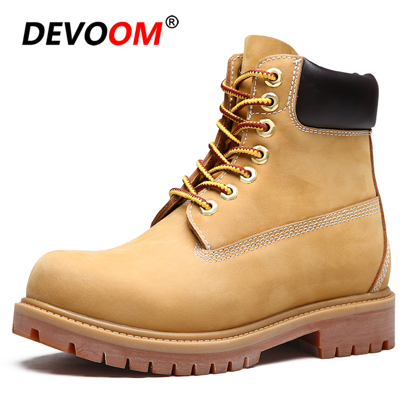 2018 New Mens Genuine Leather Martin Boots Fashion Men Winter Shoes Work Shoes Non-Slip Yellow Ankle Boots Unisex Plus Size 45