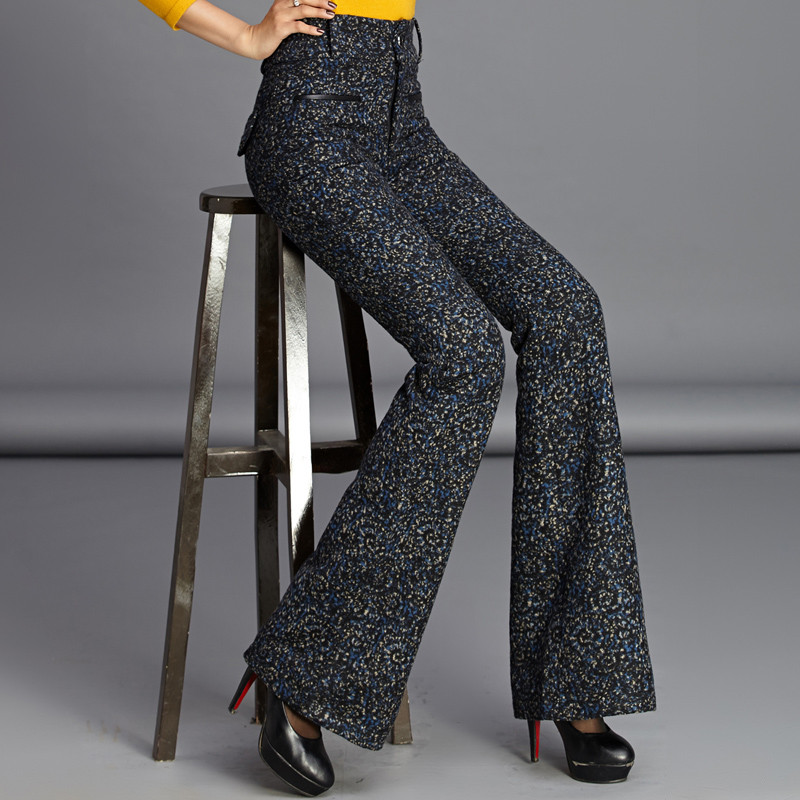 European Style Women Woolen Wide Leg Pants Thickening Long Loose Trousers Female New Fashion Casual Streetwear